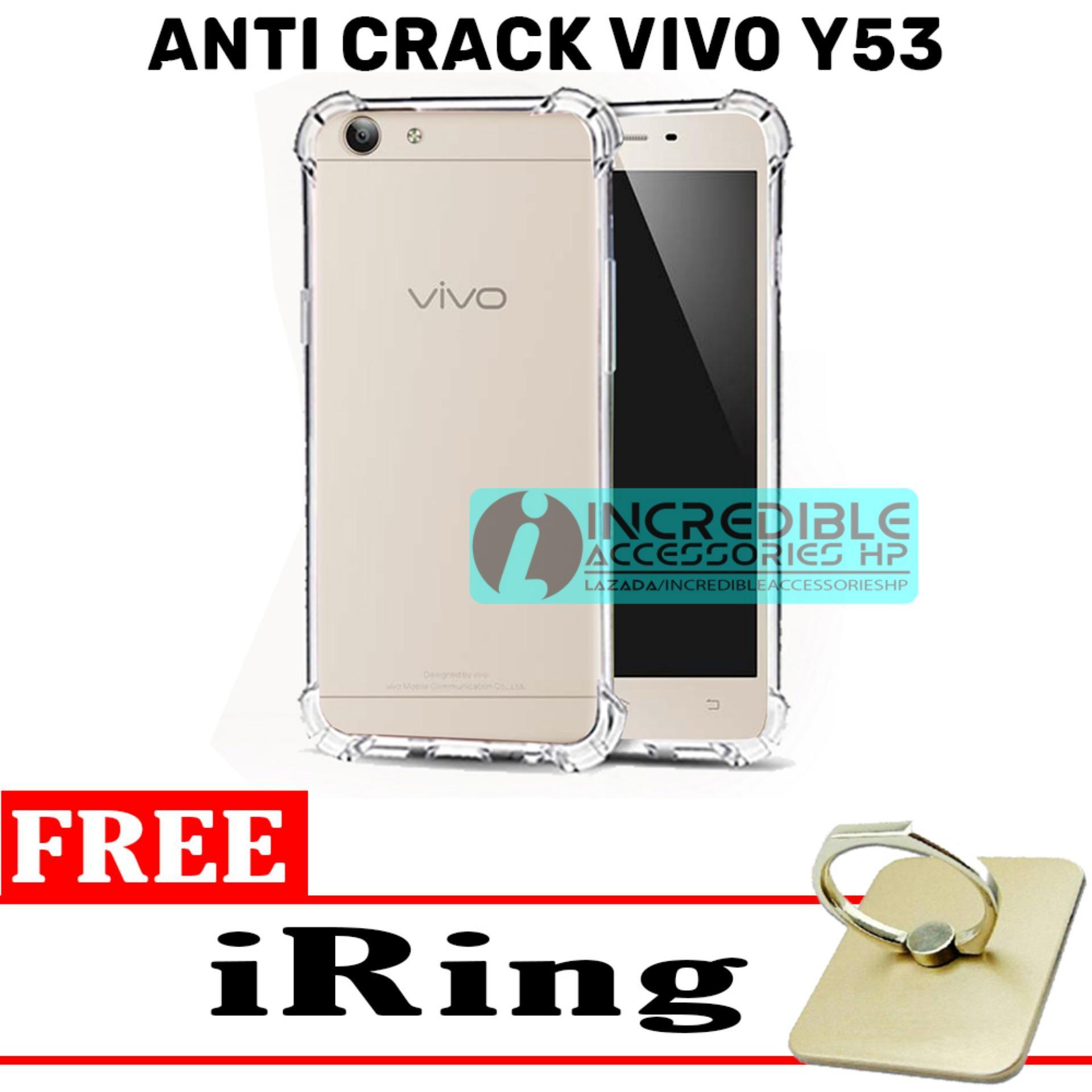 Case Anti Shock / Anti Crack Elegant Softcase  for Vivo Y53 - White Clear + Free iRing
