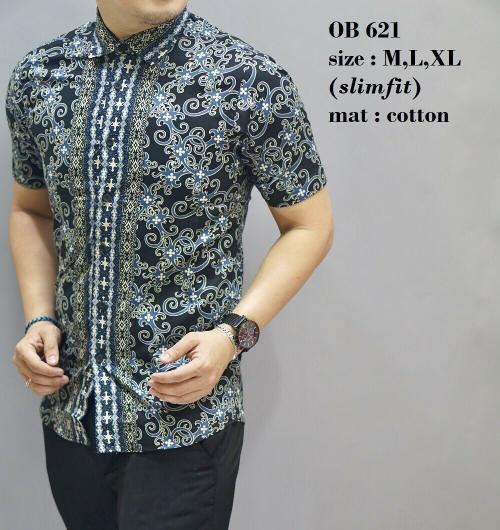 Baju Kemeja Batik Model Terbaru Slimfit Tangan Pendek Pria OB 621