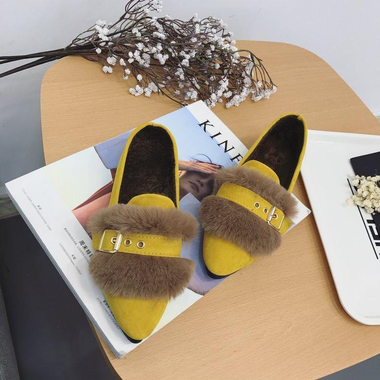 Sepatu Kulit Kacang Pointed untuk Datar Sepatu Korea Modis Gaya Tambah Beludru (Hitam)
