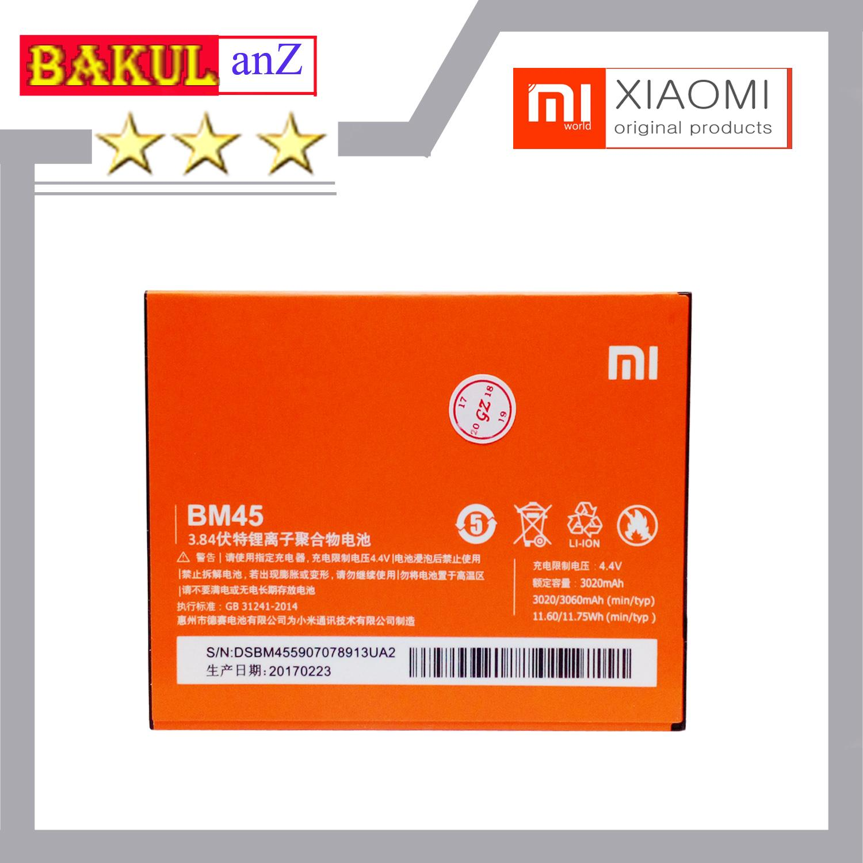 Baterai batre Hp Xiaomi Redmi Note 2 BM45 ORIGINAL - Batrai batu battery Xiaomi Redmi note2 Bm 45