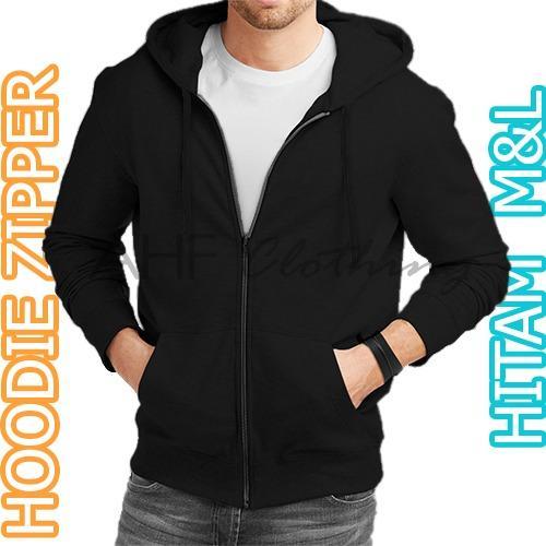 AHF Jaket Sweater Hoodie Zipper Polos - Hitam