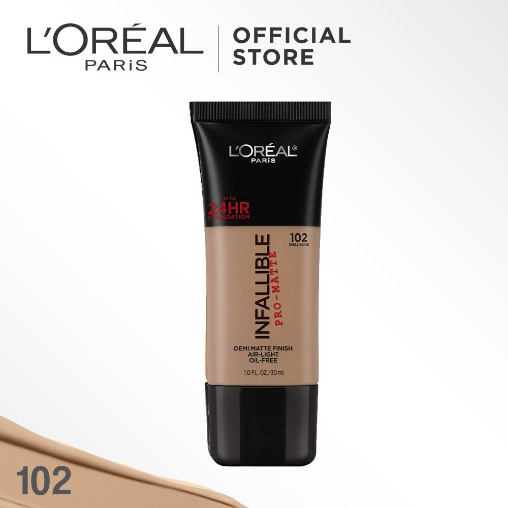 L'Oreal Paris Infallible Pro Matte Liquid Foundation - 102 Shell Beige by L'Oreal Paris Makeup   Loreal Foundation  Cair Matte For Normal to Oily Skin / Kulit Berminyak Long Lasting Tahan Lama