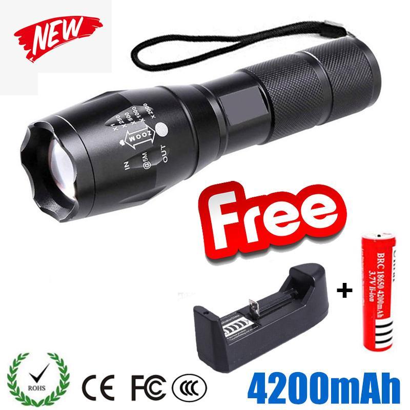 Lampu Senter Outdoor LED Super Terang Waterproof Include Baterai BRC 18650 4200mAh - Led Flashlight Torch