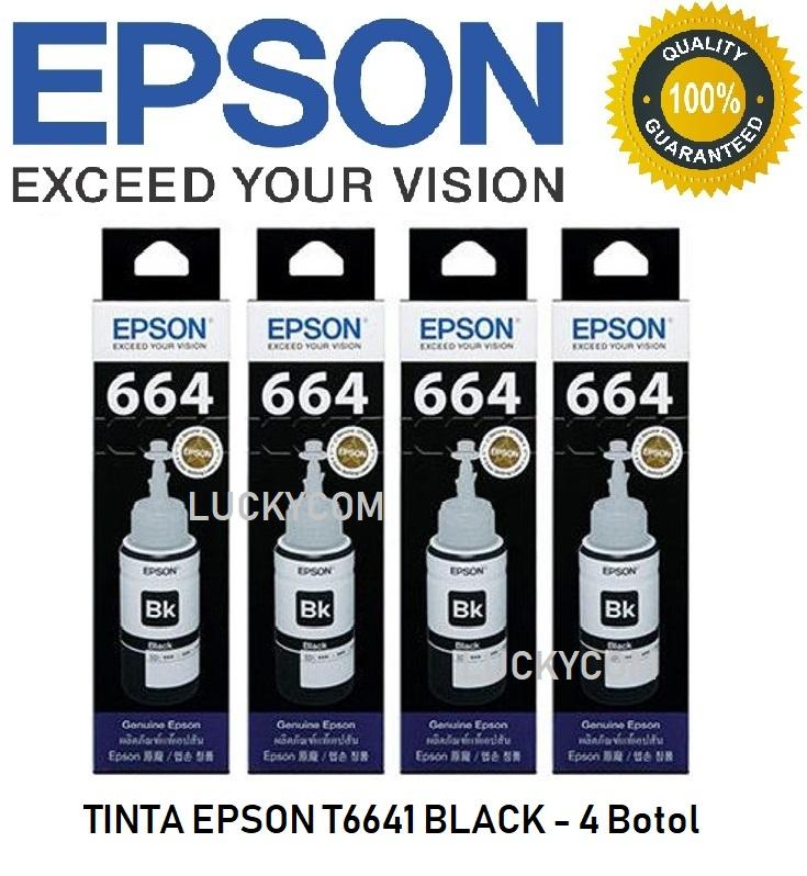 Tinta EPSON T6641 Black ( 4 Botol ) for L120 L220 L360 L385 L380