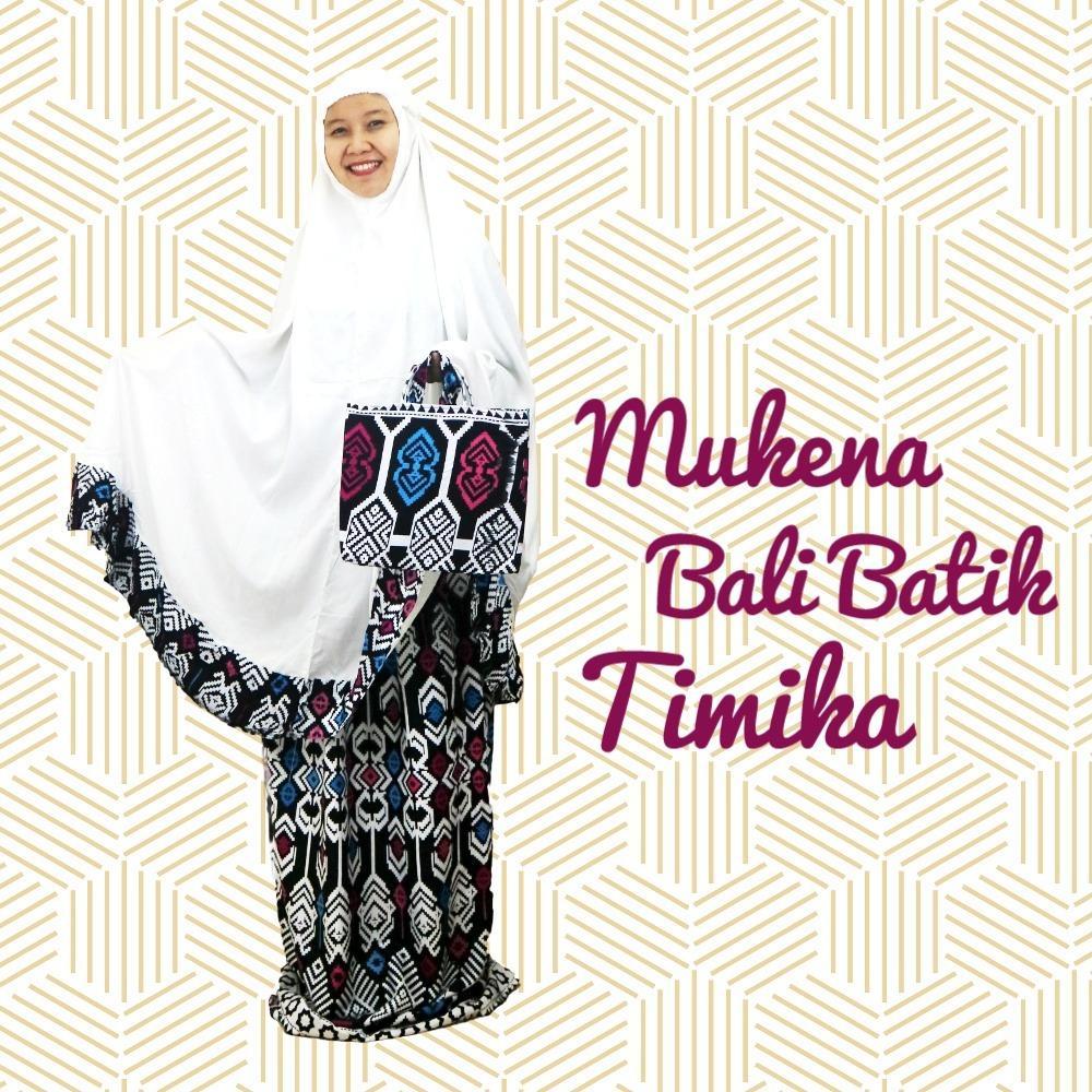 Mukena Mukenah Setelan Katun Bali Motif Batik Timika Ukuran Jumbo