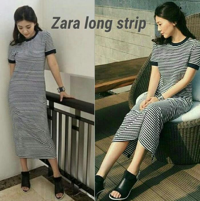 LF dress long stripe,dress wanita,dress kekinian,dress simple