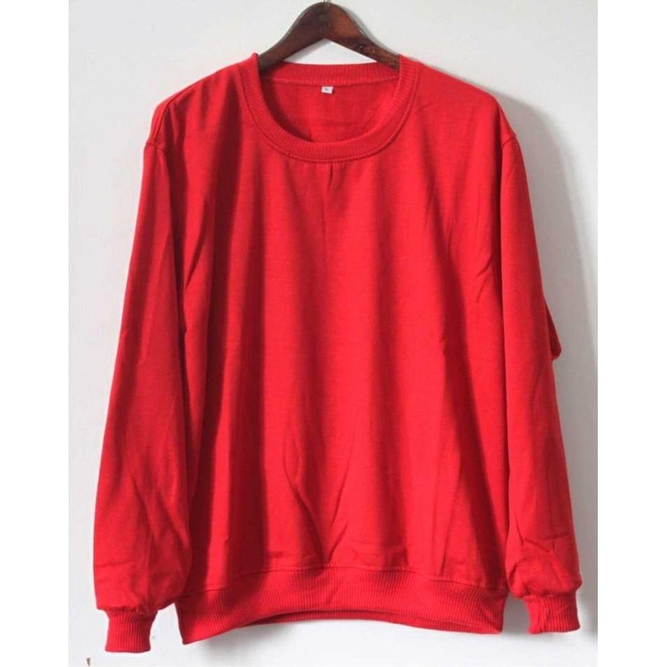Harga sweater polos oblong merah size s m l xl xxl xxxl xxxxl xxxxxl super fleece | HARGALOKA