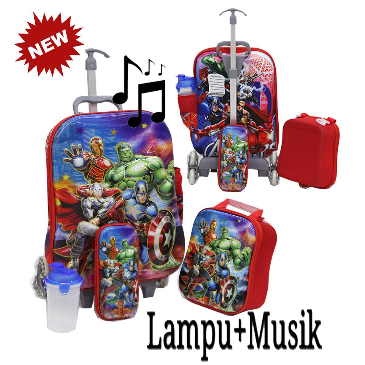 Onlan KOPER SET 6 Roda Tas 4in1 Anak Sekolah SD Motif Karakter AVENGERS Super Hero 5D Hologram ada  LAMPU DAN MUSIC Import ( KODE MM )
