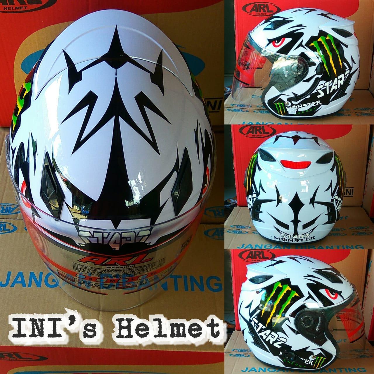 Helm ARL Centro Double Visor 2 Kaca Motif Monster - SNI - INIs Mart Jakarta