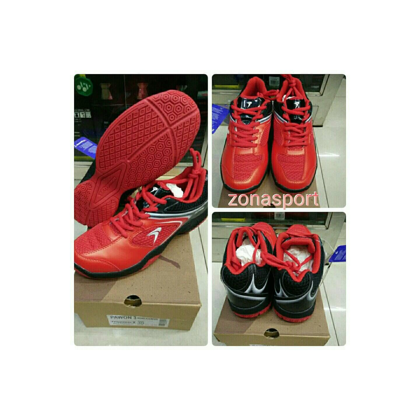 SEPATU BADMINTON FLYPOWER PAWON 3 RED BLACK - ORIGINAL