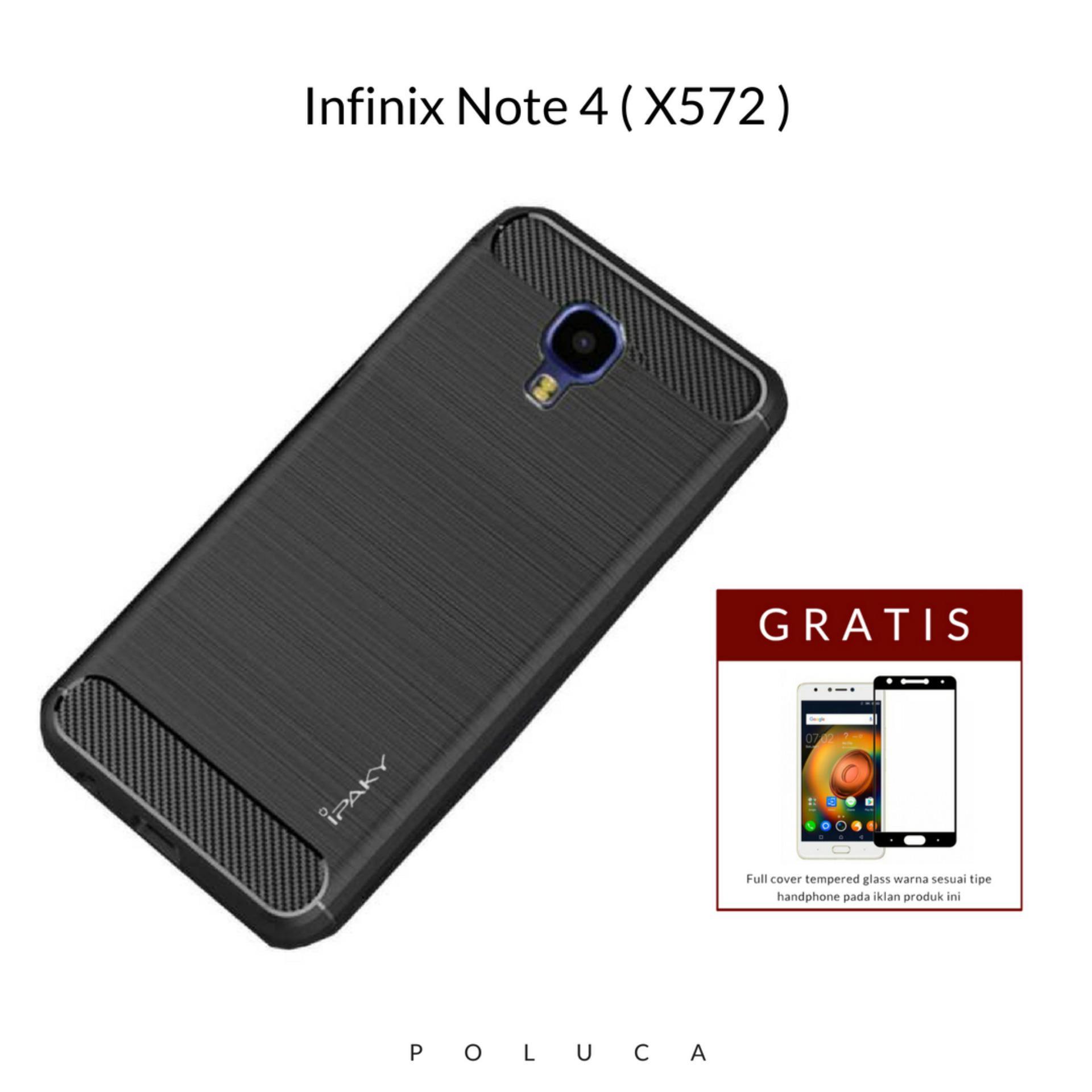 Poluca Luxury Case For Infinix Note 4 ( X572 ) Carbon Brushed TPU Shoockproof - Black + Full Cover