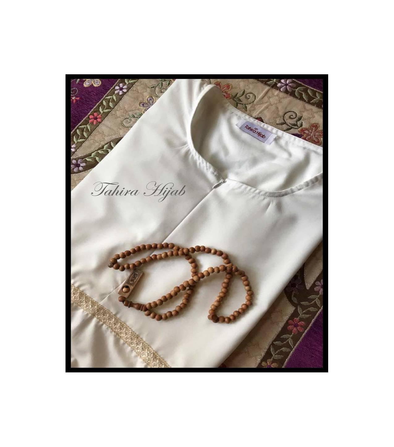 Promo Besar . . . . Gamis Putih Katun Ima Polos Berfuring, Untuk Ihram