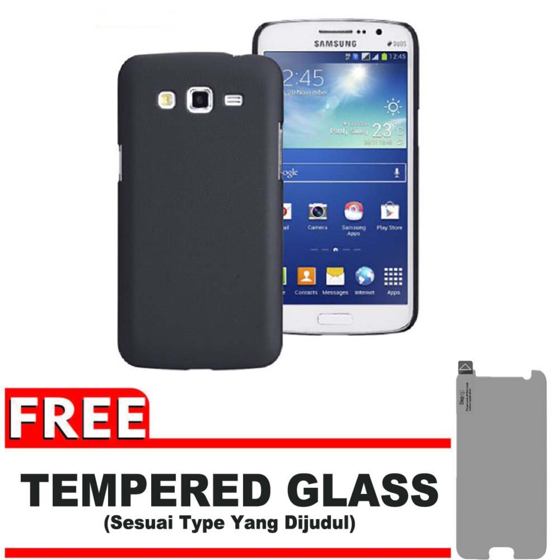 DarkNight for Samsung Galaxy Grand 2 / Duos / G7102 / G7105 | Slim Case Black Matte Softcase Premium (Anti Minyak/Anti Sidik Jari) + Gratis Free Tempered Glass Protector - Hitam Doff