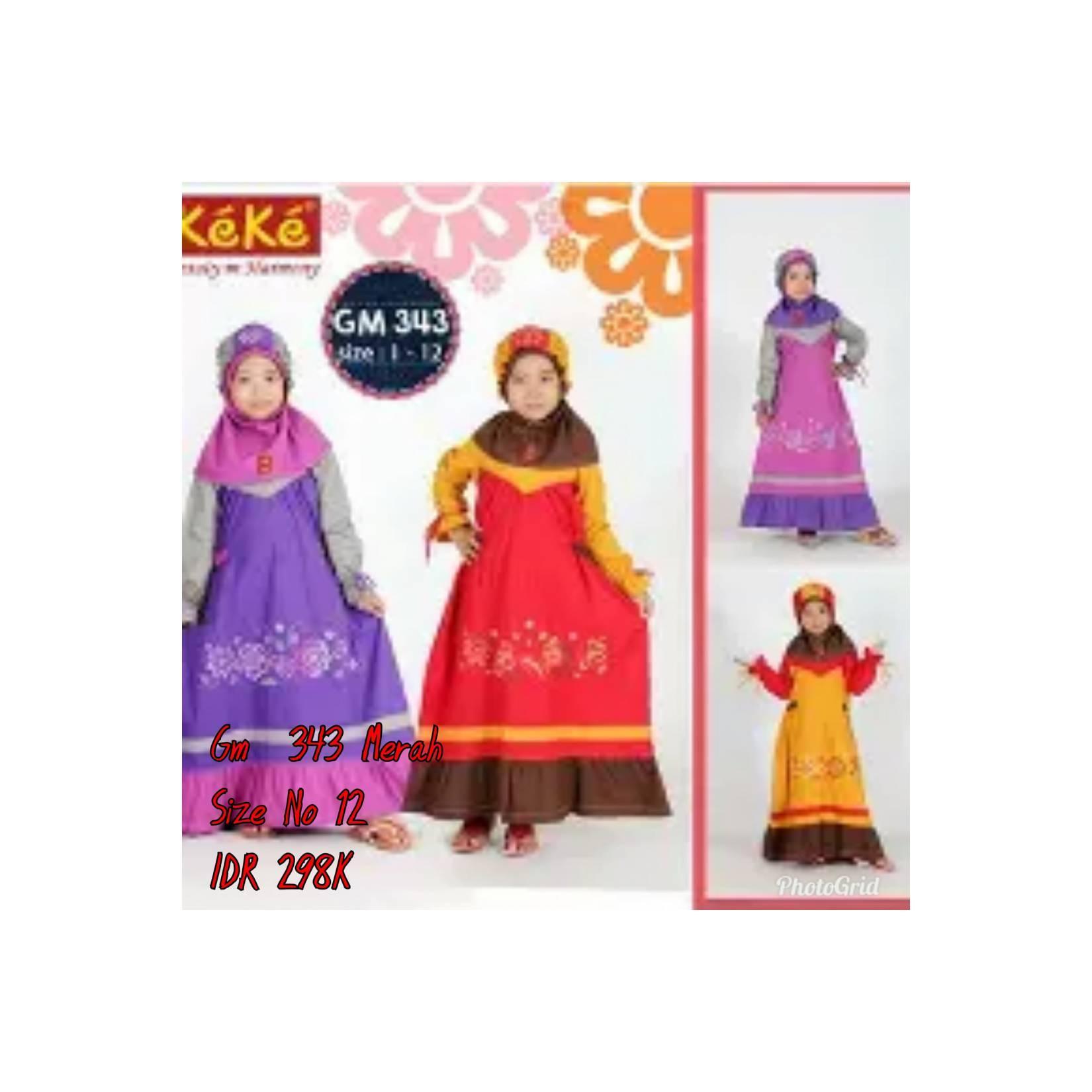 Keke Baju Anak Muslim GM 343 Merah No12 Diskon / Sale / Obral 25%
