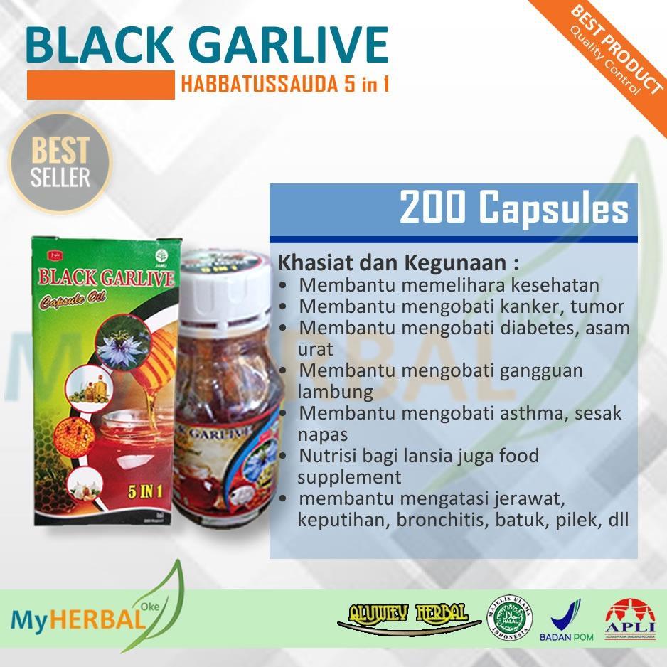 Habbatussauda Black Garlive 5in1 - 200 Kapsul (Jinten Hitam, Minyak Zaitun, Propolis, Madu, Garlic) - Edisi PROMO
