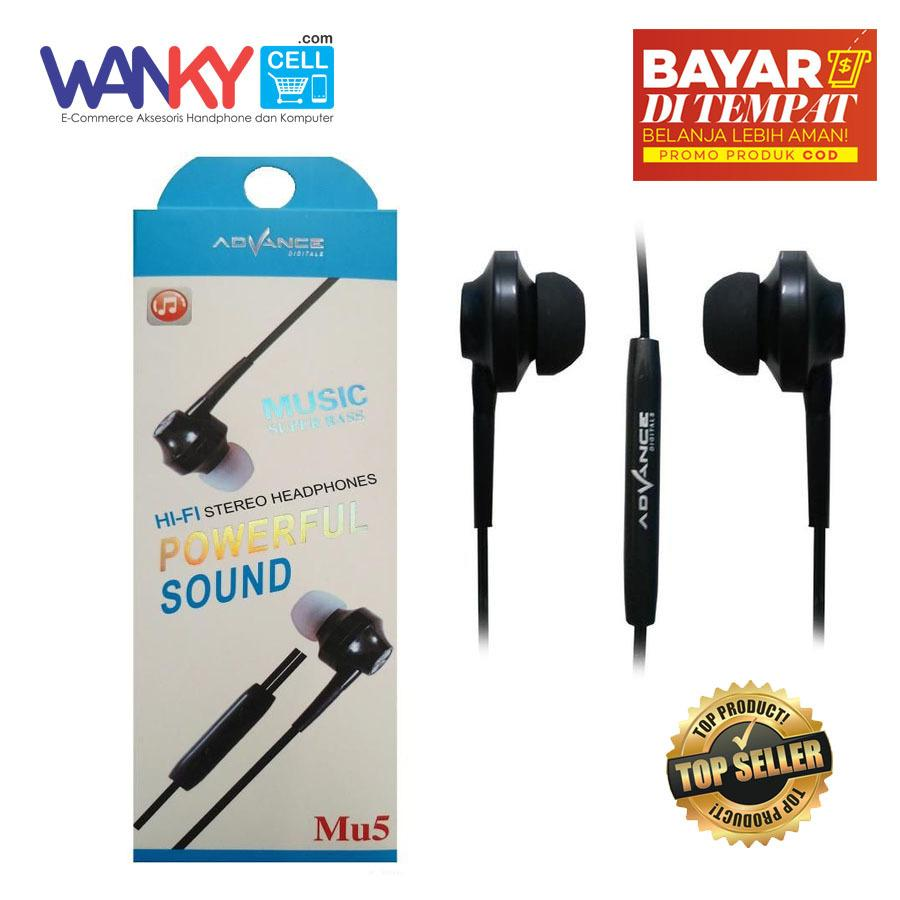 Advance Stereo Headset Mu5 Music Super BASS Powerfull For Samsung/Oppo/Vivo/Xiaomi - Hitam