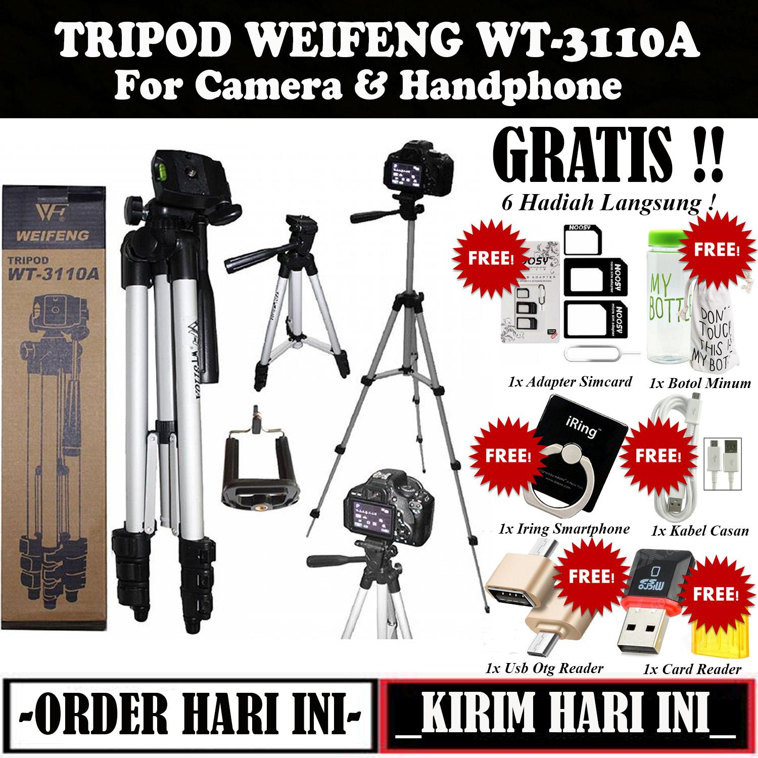 Weifeng 3110 Tripod Stainless with 3x Extend Leg - Suite For Smartphone & Camera - Black