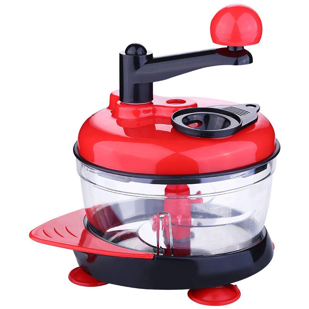 Multi-Function Manual Food Processor Meat Grinder Vegetable Chopper Shredder Cutter Egg Blender High-capacity Kitchen Fruit Vegetable Cutter Cooking Gadget (Red)