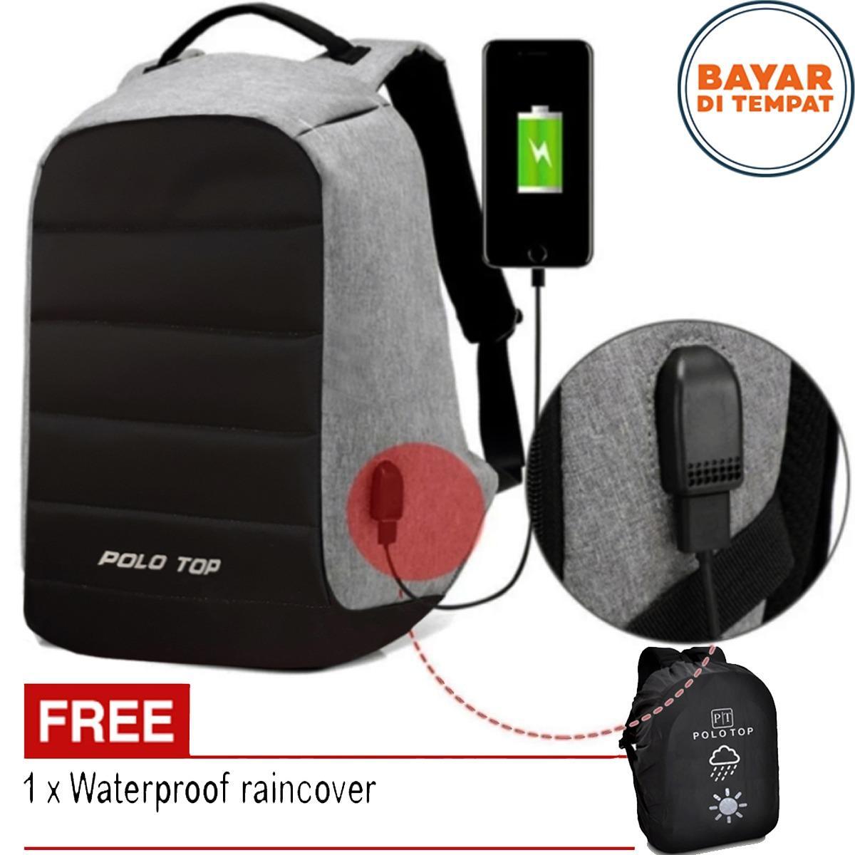 Polo Top Tas Ransel USB Tas Charger Tas Laptop Tas Punggung Tas Kerja 8802 Tas Anti Maling Tas Polo Import Original - Black Grey + Raincover