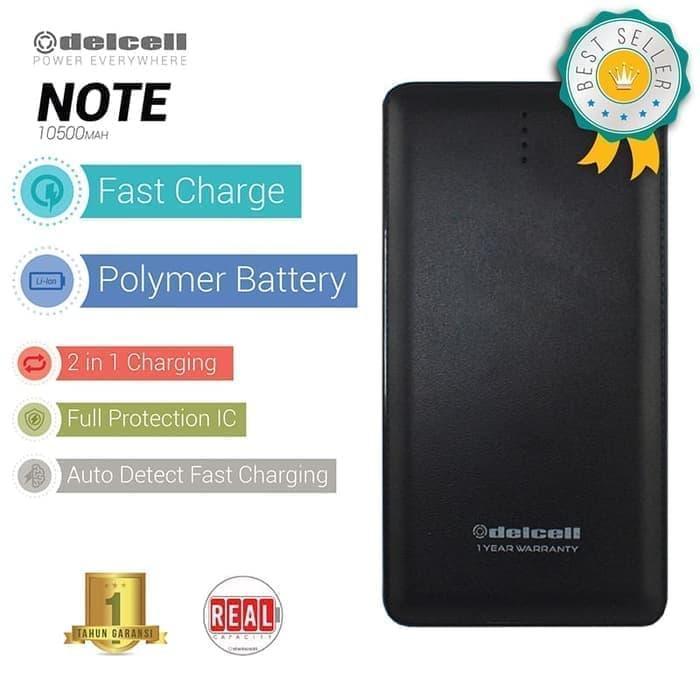 Delcell NOTE Power Bank 10500mAh Real Capacity Original Garansi 1 Tahun