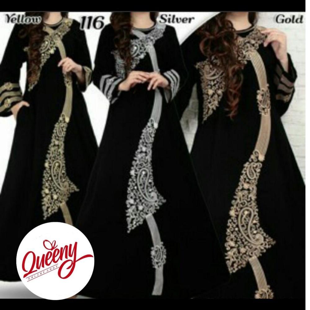 gamis abaya hitam arab - fashion muslimah - abaya modern 116