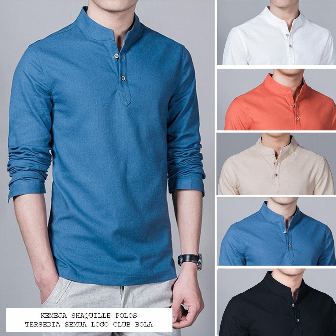 Kemeja Pria Baju Koko Shaquile Biru Polos | Tersedia 5 Warna | Grosir Kemeja Muslim Gamis Pria Murah Distro