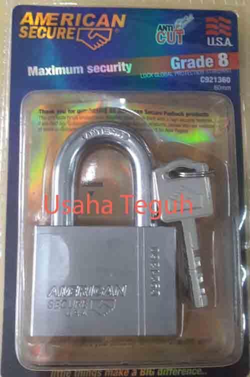 Gembok 60m/m pendek grade 8 American Secure