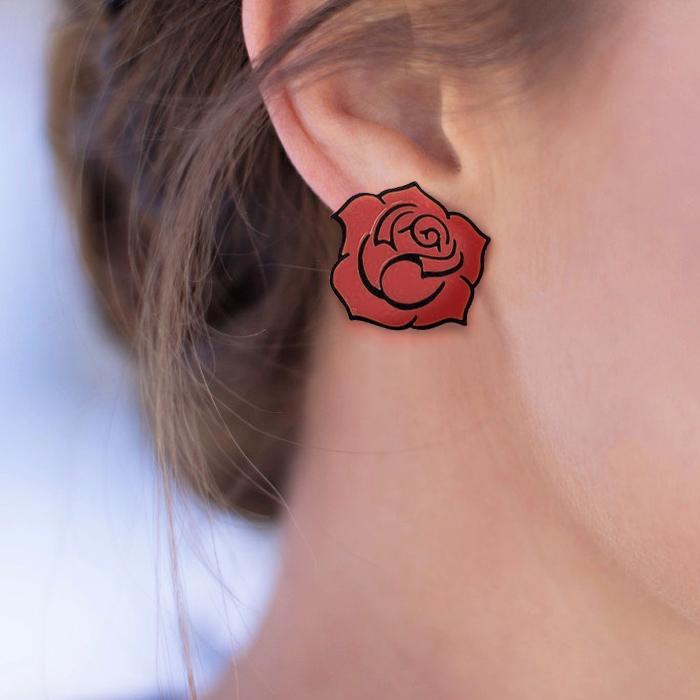 Anting  Rose Flower Acrylic Earrings J4U580