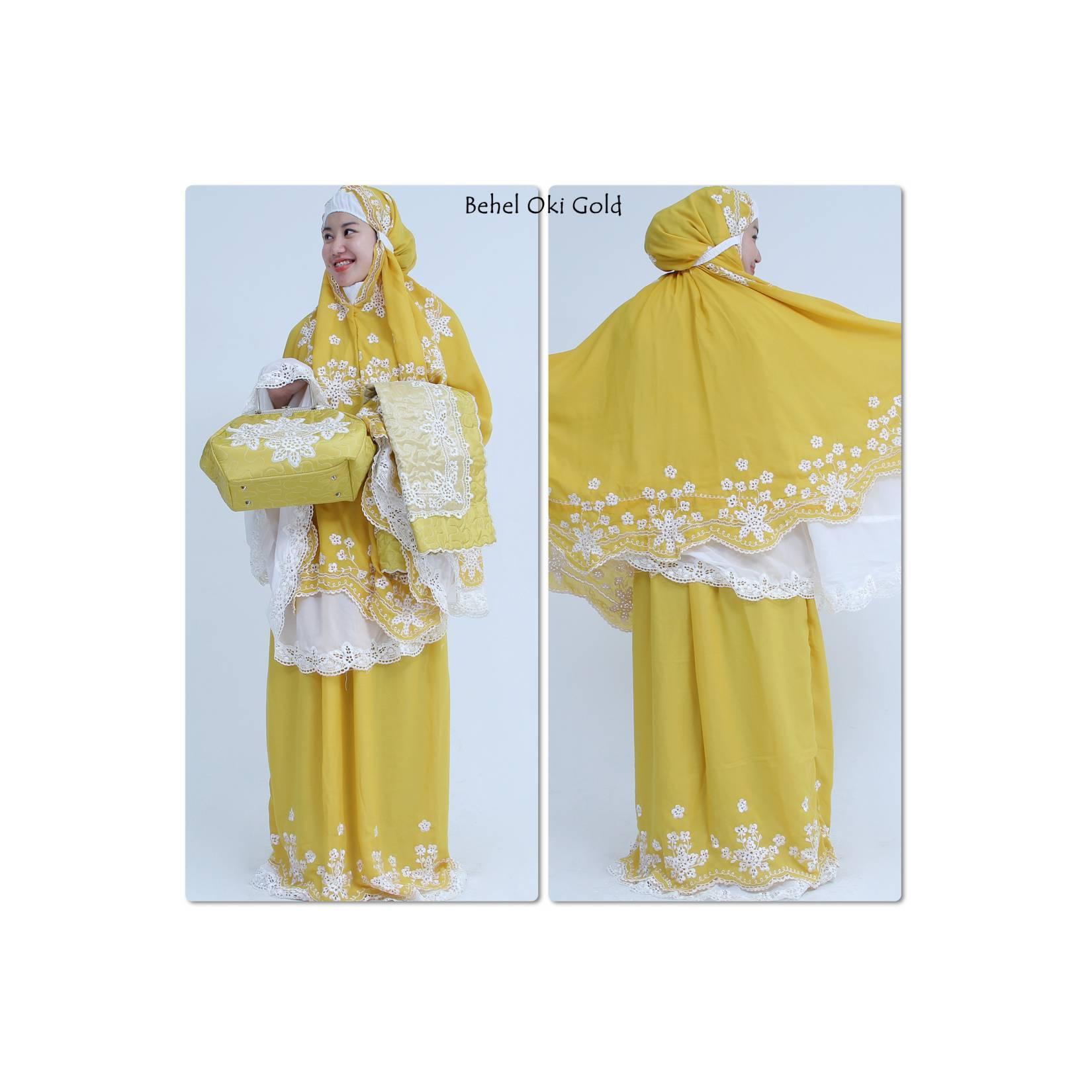 Mukena dewasa warna gold  perlengkapan untuk ibadah