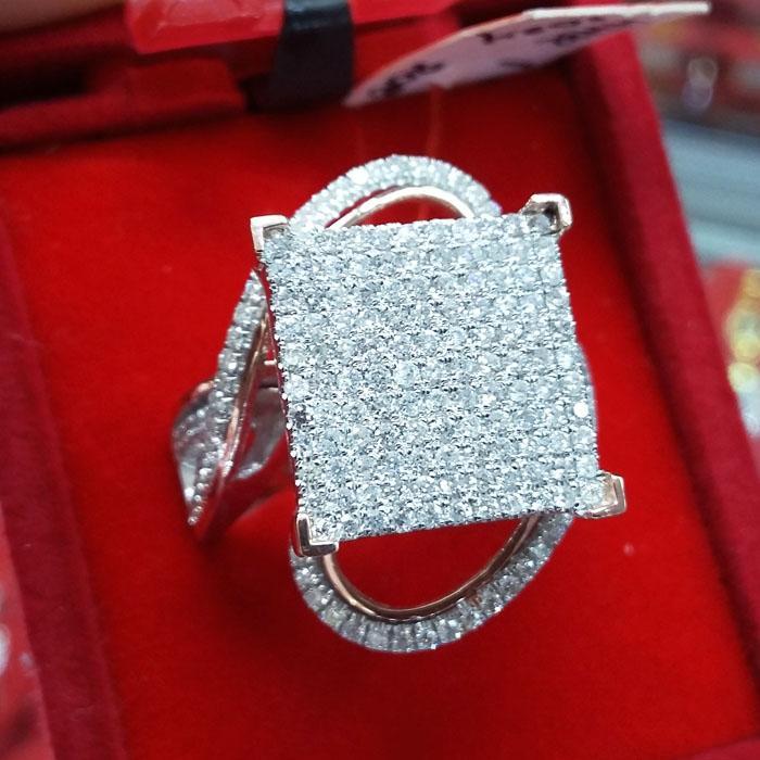 Cincin wanita Fashion berlian eropa tabur ikat emas putih 0063