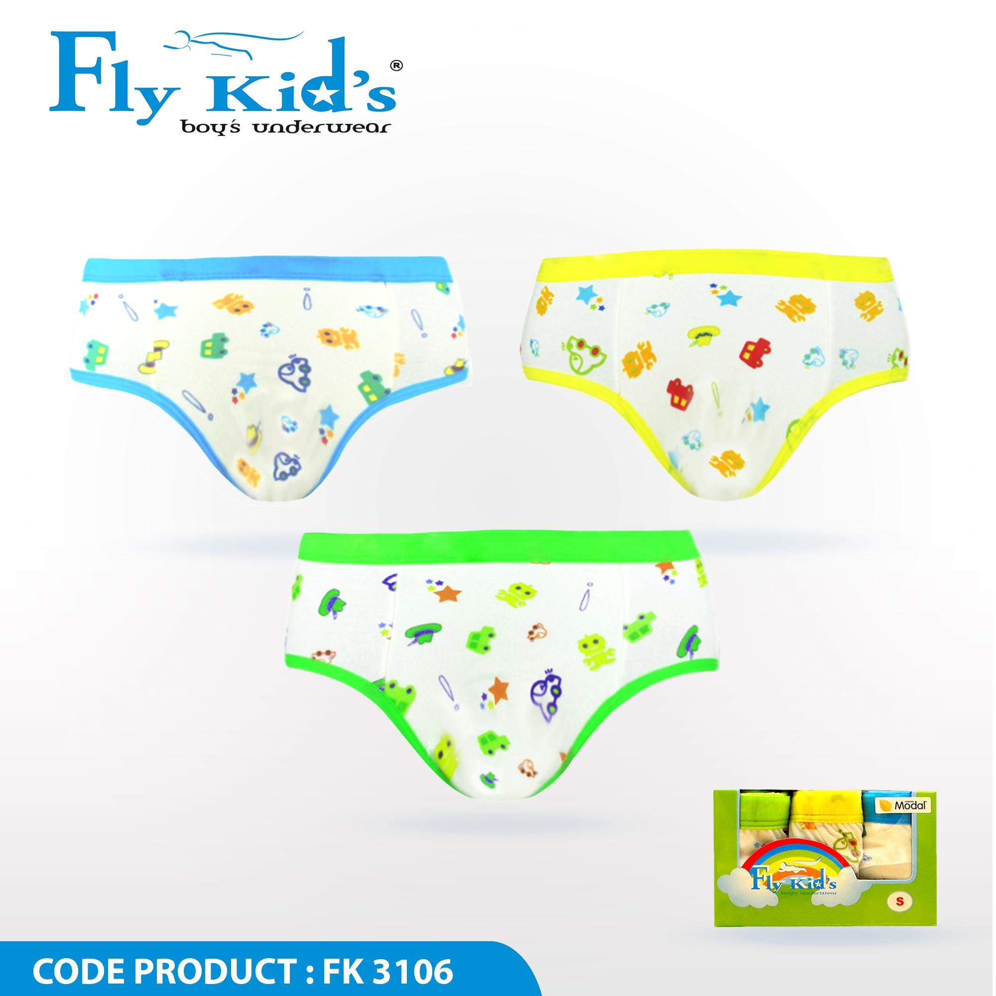Fashion Pakaian Dalam Anak Laki Celana Pria Agree Original Isi 3 Pcs Flykids Brief Kids Car Underwear Fk 3106