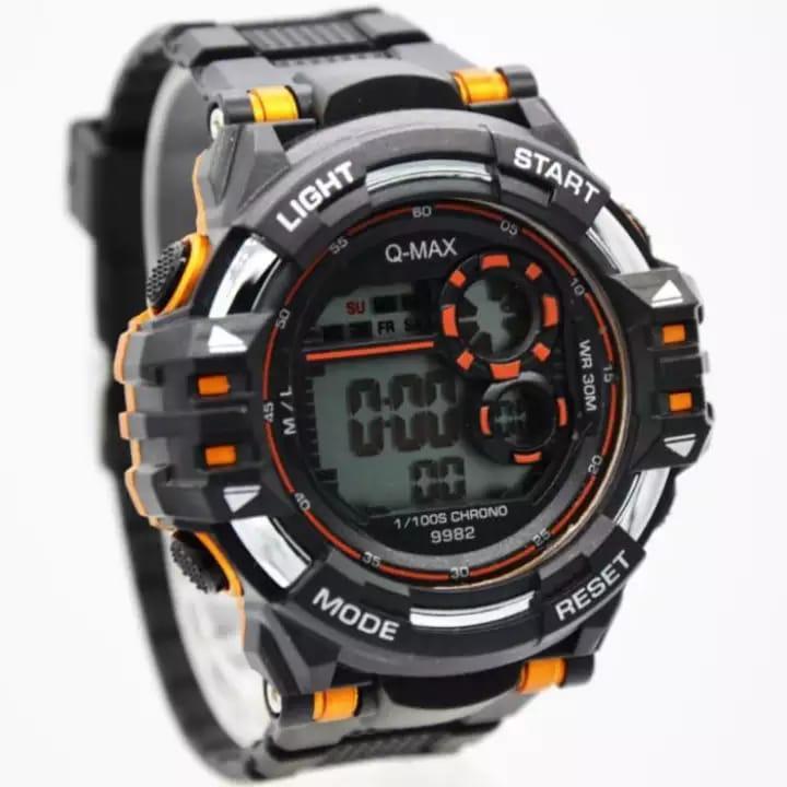 4969dc3e811 Q&Q // Q-MAX Jam Tangan Sport Pria - Rubeer Strap - Digital - Q721Q2
