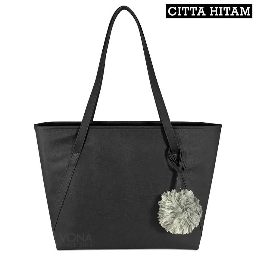 VONA Citta [Hitam] - Tas Tote Bahu Wanita Pompom Bulu Shoulder Bag Tangan Sekolah Kerja Belanja Ladies Shopping Handbag Gendong Remaja Cewek Tali Zipper Korean Fashion Bali Kulit Sintetis PU Leather Best Seller New Arrival Terbaru Branded Original Asli