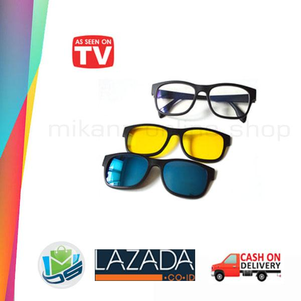Kacamata Anti Silau 3 Frame Lensa  ASK Vision 3 In 1 Magnet Lenses