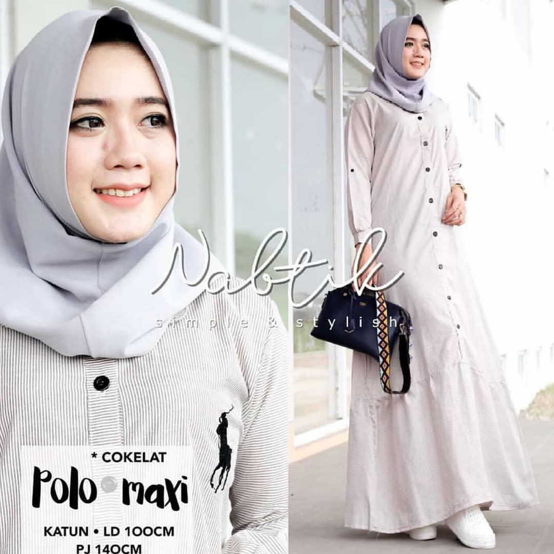 Baju Muslim Original Gamis Polo Maxy Dress Katun Jepang Muslim Panjang Dress Casual Wanita Pakaian Hijab Modern Baju Gamis Modis Trendy Gaun Terbaru