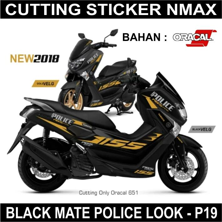 Cutting Sticker NMax Black Mate Police Look
