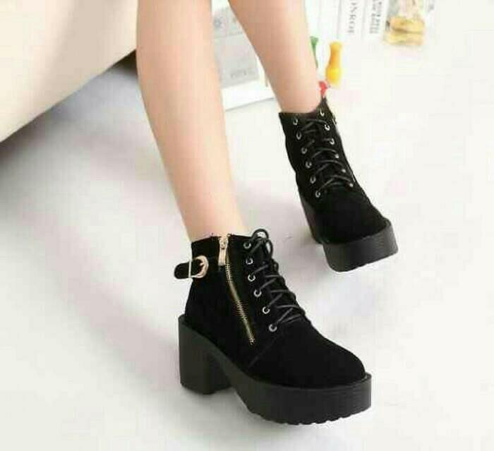 HEEL BOOT COBOY HITAM / Sepatu Wanita Terbaru / Sepatu BOOTS Murah / Sepatu SNEAKERTerbaik / Sepatu casual Terlaris / Sepatu Original - Sepatu Best quality