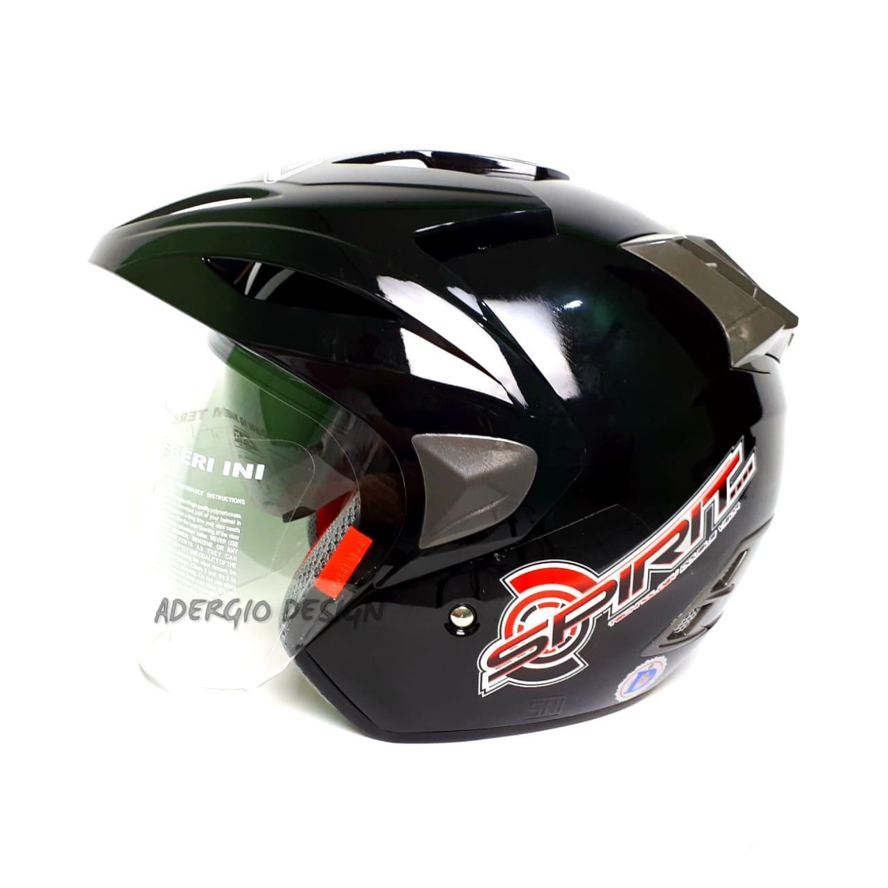 Helm GAG Spirit Solid Double Visor - Black Glossy Lisensi DOT & SNI