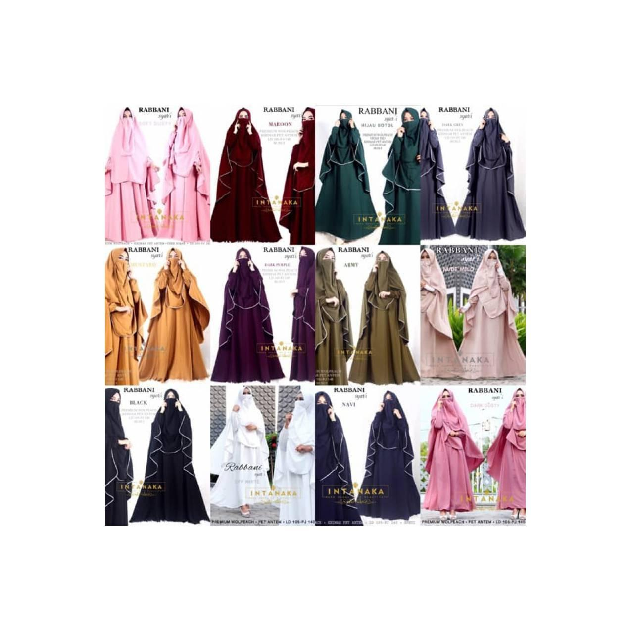 topiQu 88 New rabbani syari set gamis dress busui khimar intanka