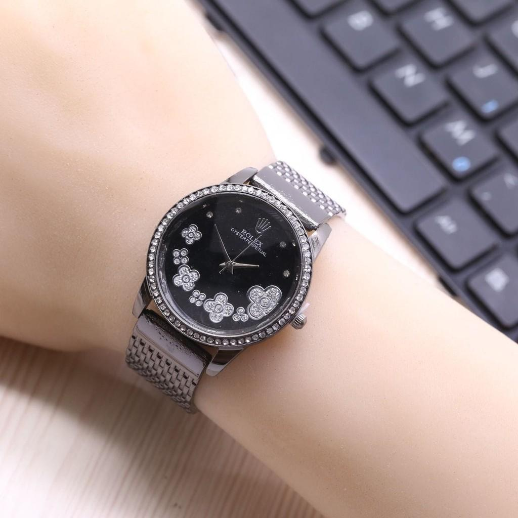 Jam Tangan Wanita / Cewek Murah Rolex Melati Rantai Black