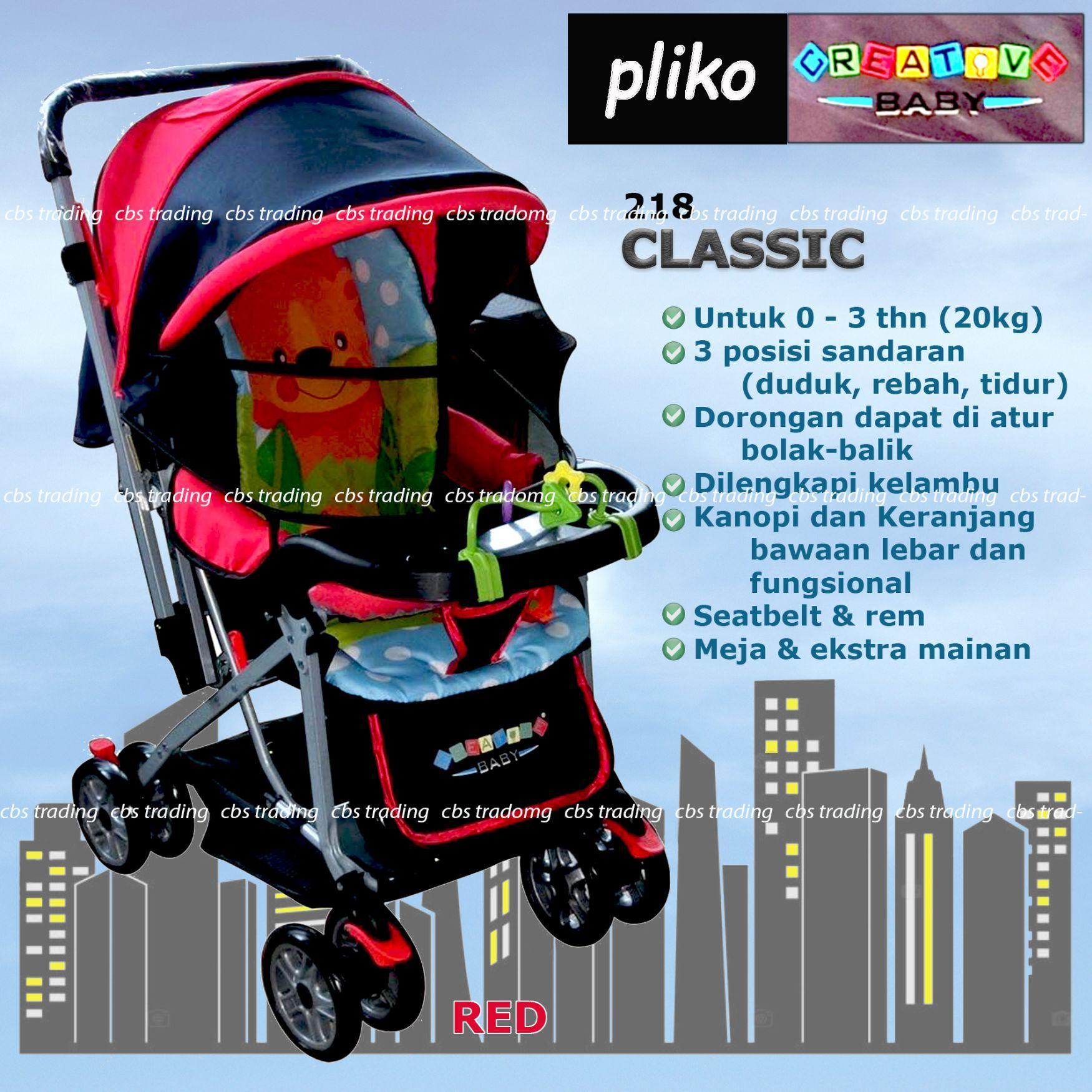 Pliko Creative Classic Baby Stroller BS-218 Lightweight - Kereta Dorong Bayi - Red