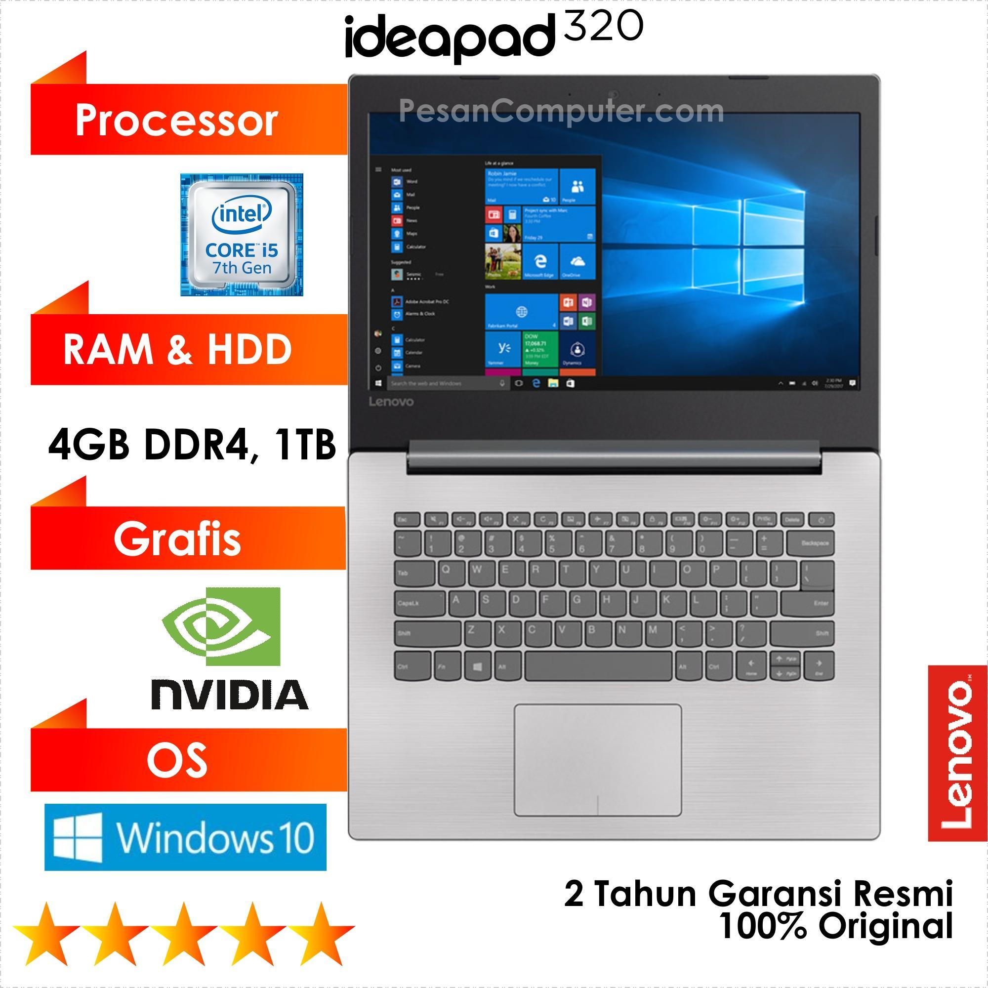Lenovo IdeaPad 320 - Intel Core i5 7200U / Windows 10 / Intel HD Graphics + NVIDIA GeForce 920MX 2GB / 1TB HDD / RAM 4GB DDR4 / 14 Inch / DVDRW / 2 Tahun Garansi Resmi Lenovo