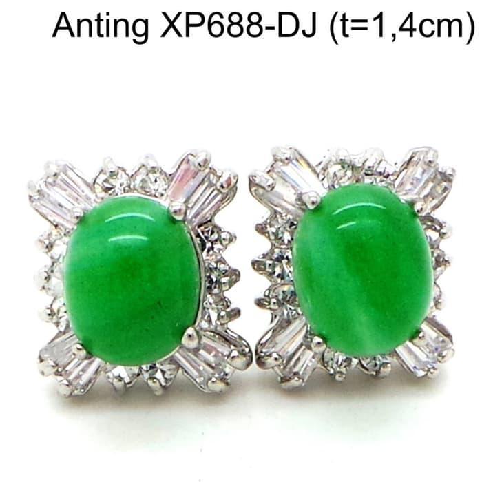 Anting Tusuk Batu Perhiasan Lapis Emas Putih Aksesoris Wanita XP688-DJ