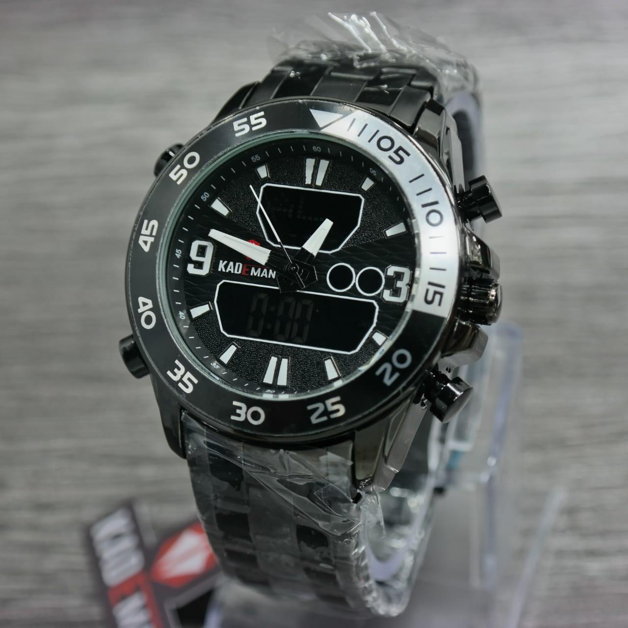Kademan D45H160K016HTMPTH Dualtime Jam Tangan Pria Stainless Steel - Chain Hitam Putih