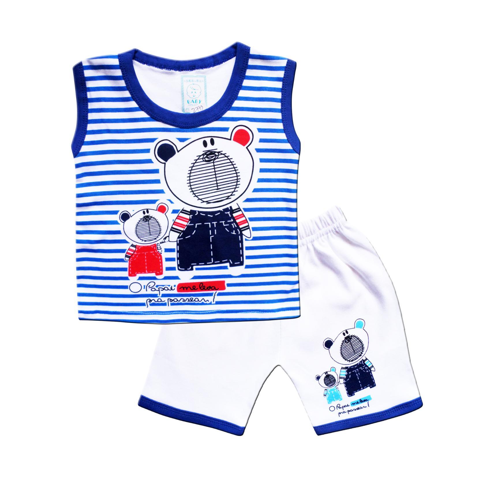 Set Pakaian Bayi Terbaik Gurita Warna Skabe Baby Putih Baju Singlet Anak Laki Setelan Kaos 2779