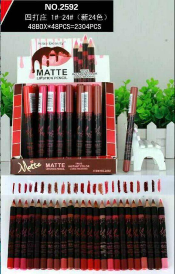 Grosir Matte Lipstick Pencil Kiss Beauty 2592 (isi 24 Pcs) - Lipstik dan Pensil Bibir Paling Laris