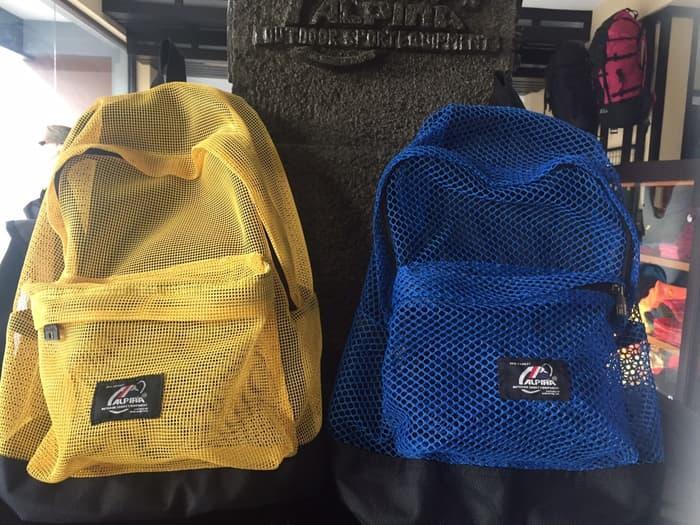 Tas ransel sekolah kuliah camping travel Alpina model jaring kuning biru