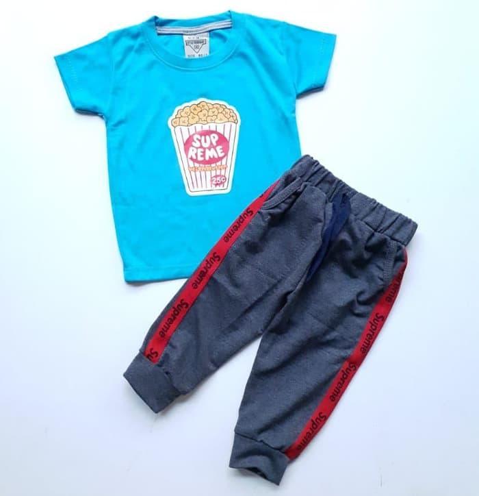 [ update terbaru ]  Baju Setelan Anak Bayi Laki Cowok Popcorn Supreme Celana Joger Abu Tua