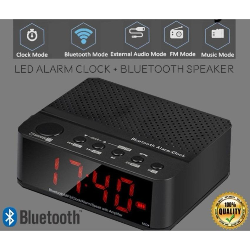 Speaker Mini Bluetooth + Radio FM + Jam Meja + Jam Weker Digital - Hitam