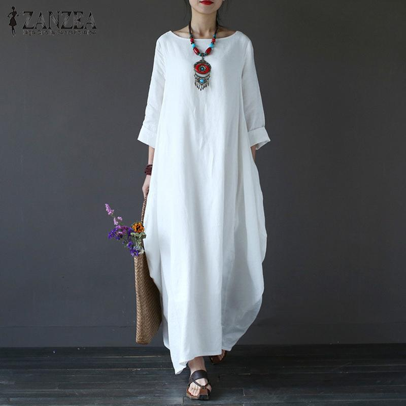 ZANZEA Womens Crewneck 3/4 Batwing Sleeve Baggy Maxi Long Shirt Dress Casual Party Kaftan Solid Robe Vestido Plus Size (Off White) - intl